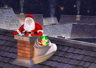 santa claus entering by a chimney