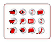 icon set with clipping paths - red