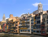 old houses by the river in girona (spain) poster