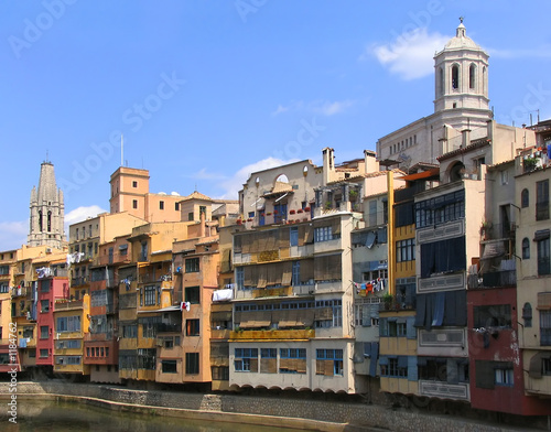 old houses by the river in girona (spain)