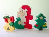 wooden hand-made toys for christmas tree poster