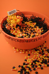 halloween bowl of candy corn