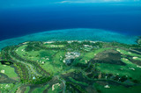 big island aerial shot - coastal golf course poster