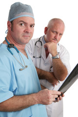 serious doctors with xrays