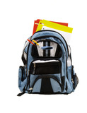 blue school back pack full of school supplies poster