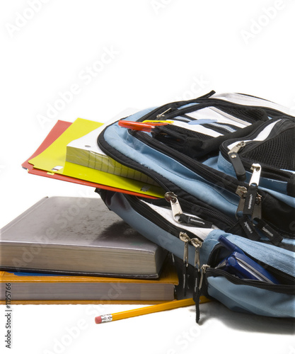 poster of blue school back pack full of school supplies with school books