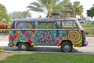 volkwagen bus with graffiti
