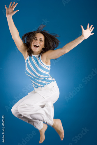 jumping happy woman Poster