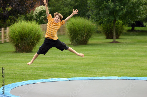 boy on trampoline
