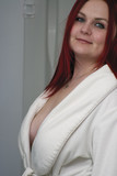 red hair model with open bathrobe poster