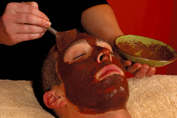 spa salon  chocolate and orange facial masque