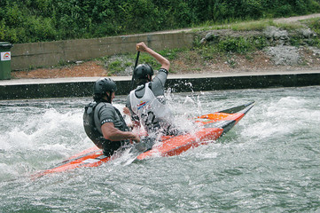 kayakers in action