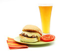 portabello mushroom burger with a beer poster