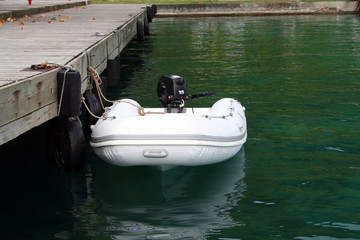 inflatable tender at a pier