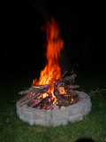 fire pit with logs poster