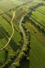 birds eye view from a hot air balloon of a river