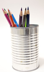 pencils in tin can