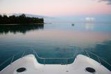 bow of catamaran boat at sunset poster
