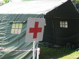 emergency red cross tent poster