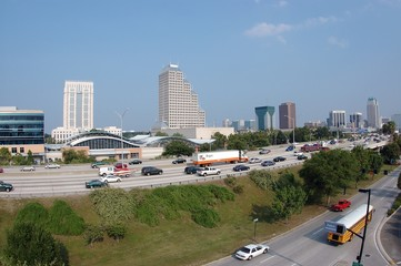 downtown orlando skyline from the westside of i-4