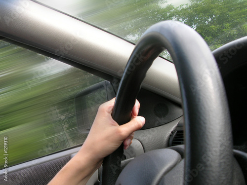 hand on road driving