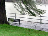 stormy weather - submerged park bench 2 poster