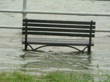 stormy weather - submerged park bench 3 poster