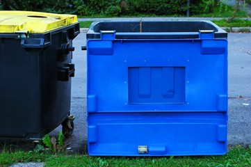 waste bin  with a blue top