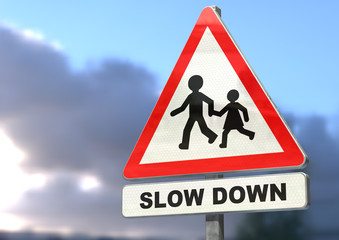 road sign, slow down for children