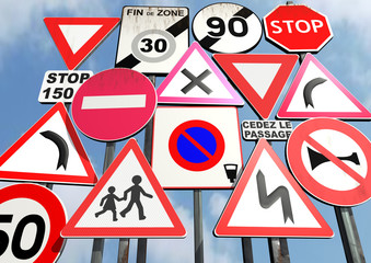 europeans interdiction or danger road signs