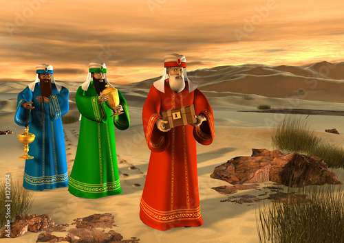 magi walking in the desert