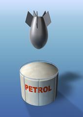 petrol tank under a bombing attack