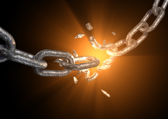 explosed link on a chain