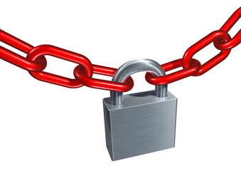 metallic padlock linking chains