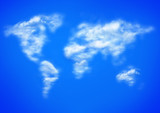 blue sky and clouds as worlwide map poster