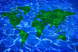 blue water and green worlwide map poster