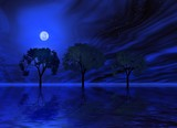 blue night. trio trees poster