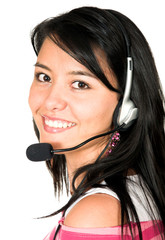 casual girl with headset
