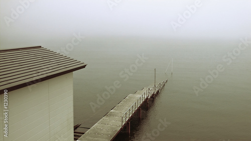 old pier in deep mist