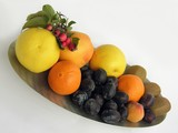 colorful fruits on the oval metallic plate poster