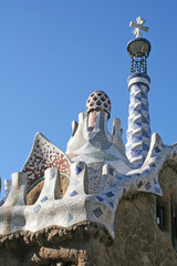 mosaic roof of little building in guell park.