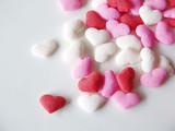 pink, white and red candied heart sprinkles poster