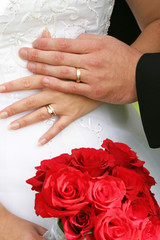 wedding bouquet and hands