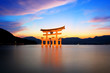 canvas print picture - torii gate at sunset