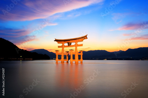 canvas print picture torii gate at sunset