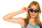 beautiful blond girl with sunglasses poster