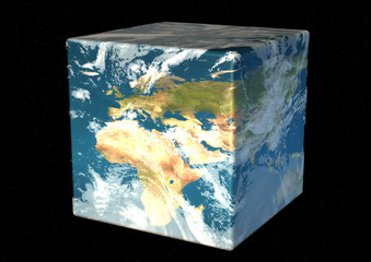 cubic earth facing europa and north africa