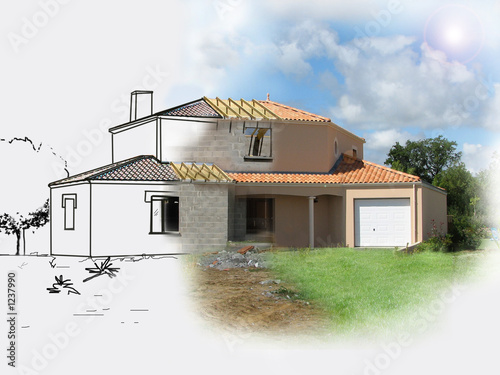 Construire une maison stock photo and royalty free images on foto - Construire une maison jumelee ...