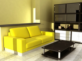 yellow sofà in livingroom