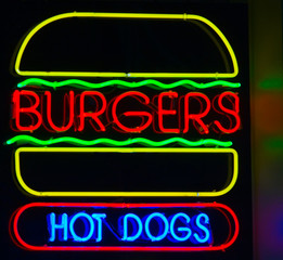 hamburger & hot dog neon sign